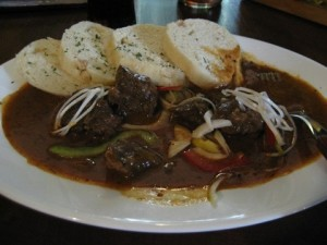 Pork gulas (goulash) with dumplings