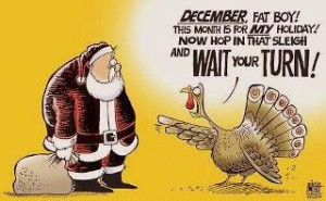 Santa and turkey face off