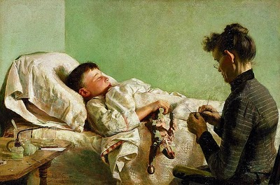 Woman sewing next to sick child's bed